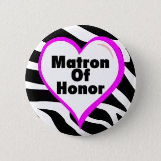 Matron Of Honor (Heart Zebra Stripes) 6 Cm Round Badge
