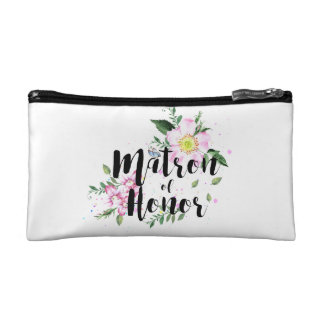 Matron of Honor Pink Floral Watercolor Wedding Cosmetic Bag