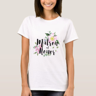 Matron of Honor Pink Floral Watercolor Wedding T-Shirt