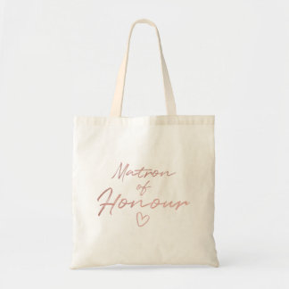 Matron of Honor - Rose Gold faux foil tote bag