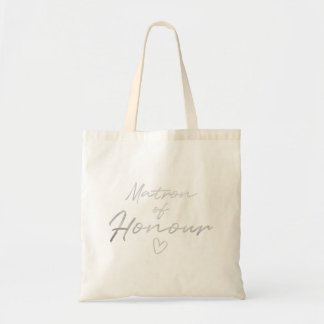 Matron of Honor - Silver faux foil tote bag