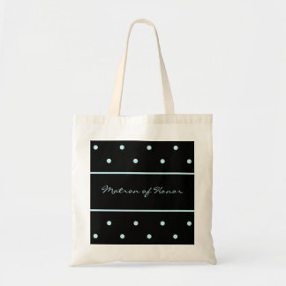 Matron of Honor Tote Bag -- Blue Dots on Black