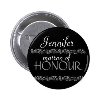 Matron of Honour Black White Silver Wedding Pin
