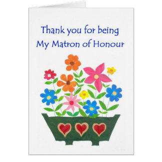 Matron of Honour Thank You Greeting Card