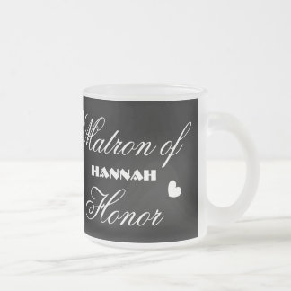 Matron of Honour with Hearts A01D Frosted Glass Mug