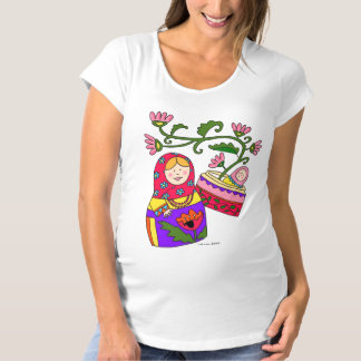 Matroshka and Baby Ukrainian Folk Art Maternity T-Shirt