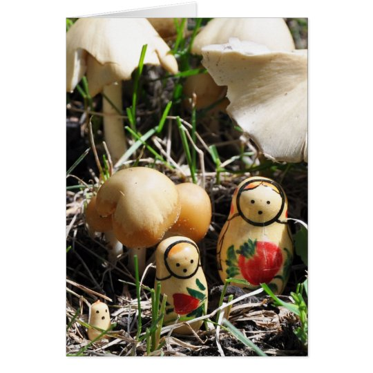 Matroshka in a Mushroom Patch Card