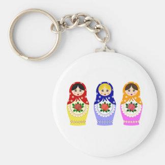 Matryoschka dolls basic round button key ring