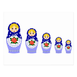 Matryoschka dolls blue postcard