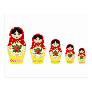 Matryoschka dolls red postcard