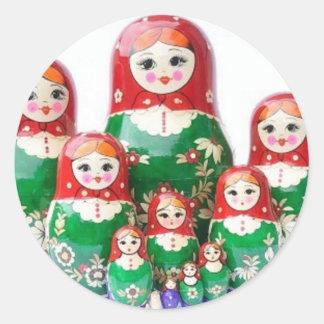 Matryoshka - матрёшка (Russian Dolls) Classic Round Sticker