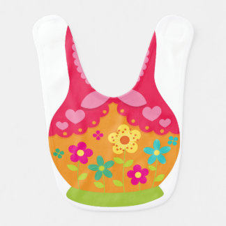 Matryoshka Bib - Red and Orange Flowers