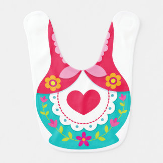 Matryoshka Bib - Red, White and Teal