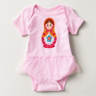 Matryoshka Bodysuit with Tutu - Red and Orange