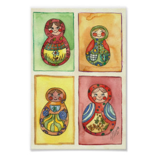 Matryoshka dolls art poster
