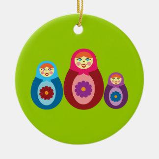Matryoshka Dolls Round Ceramic Decoration