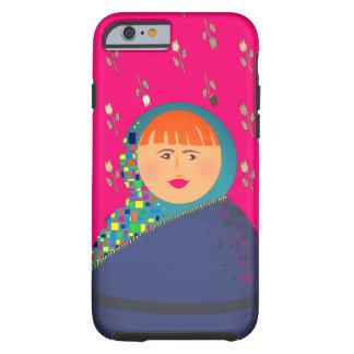 Matryoshka Red Hair Floral Pattern Background Tough iPhone 6 Case
