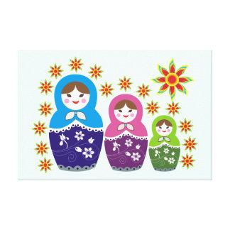 Matryoshka Russian dolls & sunflowers custom Stretched Canvas Print