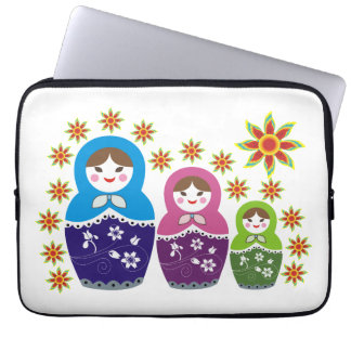 Matryoshka Russian dolls & sunflowers custom Laptop Sleeve