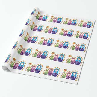 Matryoshka Russian dolls & sunflowers custom Wrapping Paper