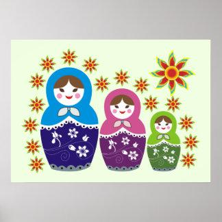 Matryoshka Russian dolls & sunflowers pale green Poster
