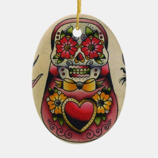 matryoshka sugar skull christmas ornament