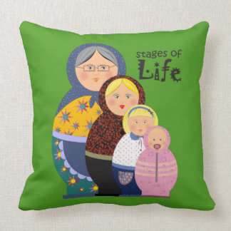 Matryoshka Woman Mother Life Ageing Cartoon Funny Cushion