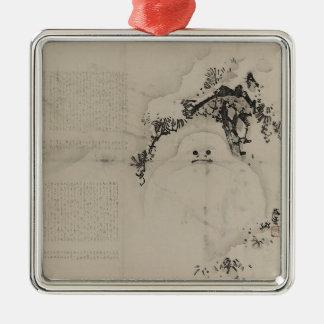 Matsu ni yukidaruma christmas ornament