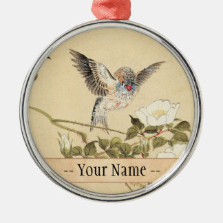 Matsumoto Keibun Bird and Flower Album Zebra Finch Silver-Colored Round Decoration