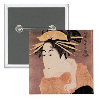 Matsumoto Yonesaburo in the role of the courtesan 15 Cm Square Badge