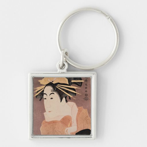 Matsumoto Yonesaburo in the role of the courtesan Silver-Colored Square Key Ring
