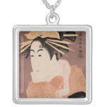 Matsumoto Yonesaburo in the role of the courtesan Square Pendant Necklace