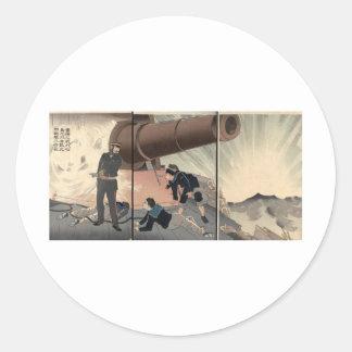 Matsushima Gun firing c. 1894. Japan. Round Sticker