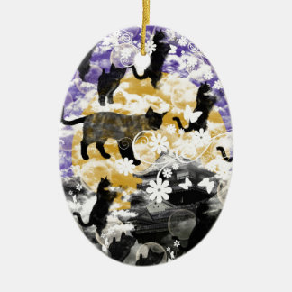 Matsuyama castle and flower and cat christmas ornament