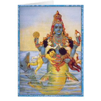 Matsya with the Vedas as Infants Greeting Card