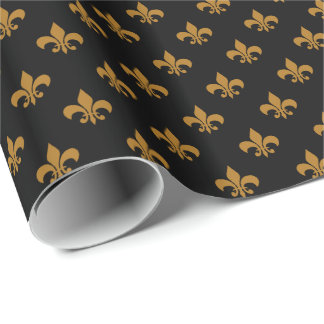 Matte Gold Fleur-de-lis on Black Wrapping Paper