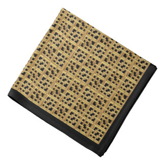 Matte Gold Interlocking Squares on Black Bandana