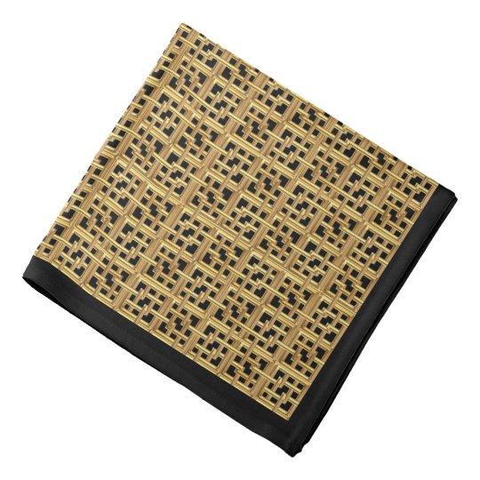 Matte Gold Interlocking Squares on Black Bandana