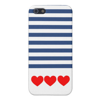 Matte Nautical Stripes and Hearts iPhone Case iPhone 5 Cover