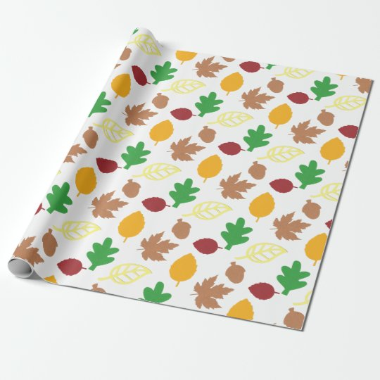 Matte Wrapping Paper, Autumn Leaves Pattern Wrapping Paper