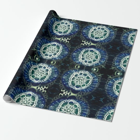 Matte Wrapping Paper,white blue mandala Wrapping Paper