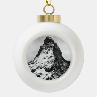Matterhorn, Alps black and white Ceramic Ball Decoration