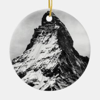 Matterhorn, Alps black and white Round Ceramic Decoration