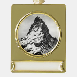 Matterhorn, Alps black and white Gold Plated Banner Ornament