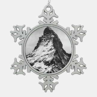 Matterhorn, Alps black and white Pewter Snowflake Decoration