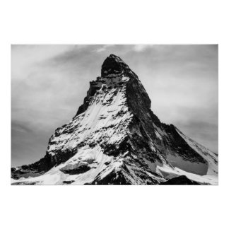 Matterhorn, Alps black and white Poster