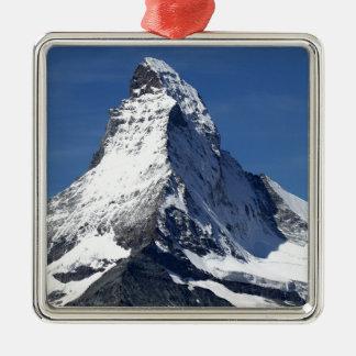 Matterhorn, Alps Square Metal Christmas Ornament