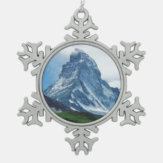 Matterhorn, Alps Snowflake Pewter Christmas Ornament