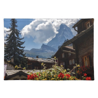 Matterhorn and Zermatt village houses, Switzerland Placemat