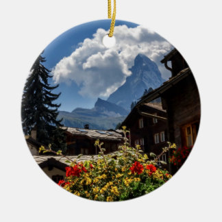 Matterhorn and Zermatt village houses, Switzerland Round Ceramic Decoration